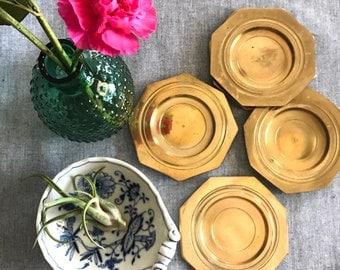 Vintage Brass Coasters - Set of 5 Brass Coasters - Brass plates - Brass decor