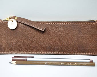 Leather Pencil Case With Initial - brown, personalized pencil case, monogram pencil case, initial pencil case, tool case, pen case