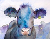 black angus, kitchen art, cow art, watercolor animal, cow painting, cow watercolor, cow print, canvas print , abstract cow , annette bennett