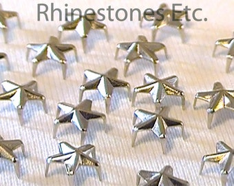 Silver 6.4 mm Star Nailheads 5 Prongs 10 pieces