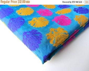 ON SALE Blue Pink yellow neon flower on blue velvet India silk brocade fabric nr 206 fat quarter