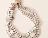 Cross Over Rhinestone Bracelet, David Designer, Art Deco Revival, Vintage Jewelry BLACK FRIDAY CHRISTMAS Sale