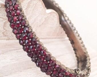Bohemian Garnet Bangle Bracelet Vintage Jewelry SPRING SALE