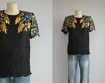 Vintage 80s Beaded Top / 1980s Floral Sequin Tee Blouse / Black Multi Color Party Top