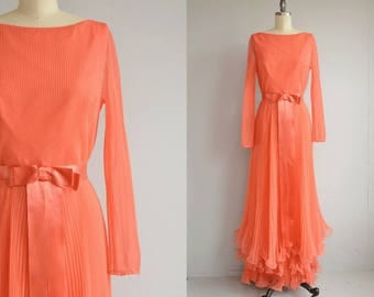 Vintage 1960s Cocktail Dress / 60s Miss Elliette Coral Party Evening Dress with Crystal Pleats
