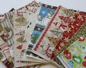 SHOP CLOSING SALE  Christmas Fabric ,Fabric Destash, Fabric Bundle, Fabric Remnants, Cotton Quilting Fabric - 10 Pcs