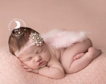 Vintage Rhinestone Couture Light Pink Lace Headband - Light Pink Feathered Angel Wings - Stunning Newborn Photo Prop