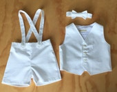 Baby boy christening outfit white suspender shorts vest and bow tie