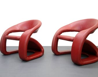 Memphis Milano Pop Art Style Modern Red Leather Cantilevered Lounge Chairs