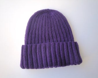Women's Cashmere Hat, Royal Purple, Hand Knit Beanie Hat, Luxury Knit Cap, Chic Winter Fashion