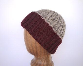 Hand Knit Warm Wool Hat, Watch Cap, Burgundy Red & Tan, Toque Beanie, Men Teen Boys, Color Block Stripes