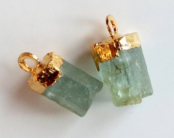 Gold Leaf Aquamarine Natural Crystal Pendants With Jump Ring ~ Set of Two (A)