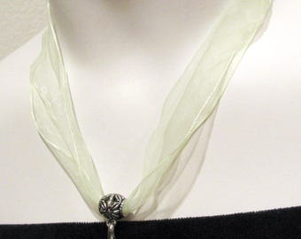 """Sheer Ribbon Necklace Length 17"""" with 2.5"""" Extension Chain / 4 Colors Available / 3pcs per Unit"""