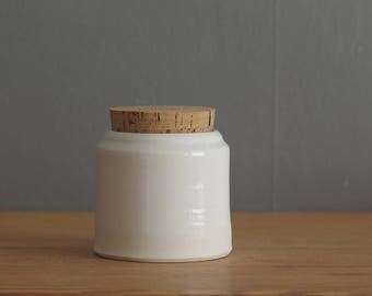 SALE ready made jar. small corked canister with white glaze on porcelain clay. could be used as an urn.