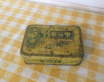 Antique Vintage Tobacco Tin, J.G.Dills,Cut Plug Tin,Rusty Decor