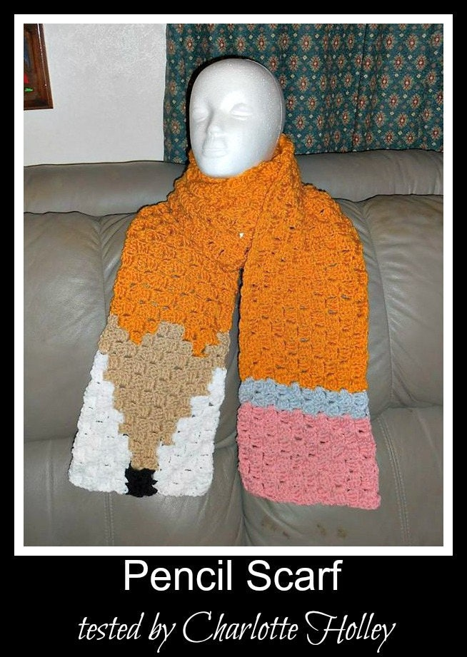 Pencil Super Scarf, C2C Graph, Crochet Pattern