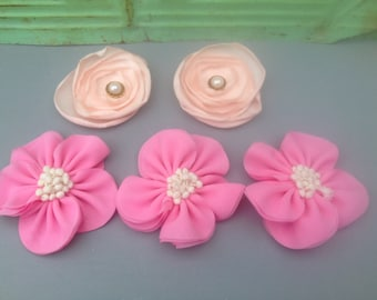 5 Pink Flower Embellishments, Crafting Supplies-Flowers, Pink Fabric Flowers