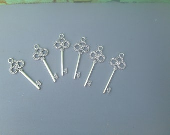 Six Metal and Rhinestone Key Charms, Jewelry Making Supplies, Crafting Supplies-Metal