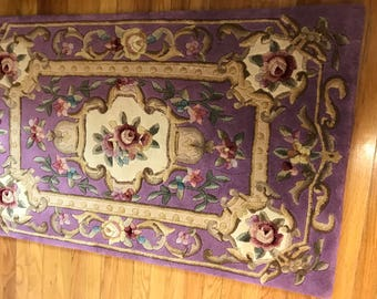 "RUG .. Magnificent Purple Sculpted Floral 100% wool area Rug 30 x  50"" Handmade wool rug NOS Never Used"