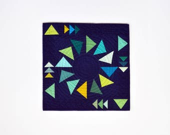 Triangle Wall Hanging, Modern Wall Decor, Quilted Wall Hanging, Triangle Quilt, Textile Art, Geometric Quilt