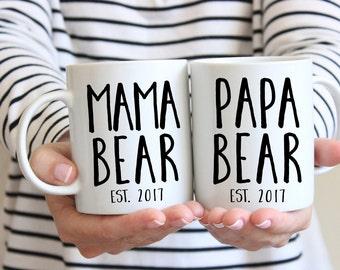 Mama and Papa Bear Mug Set, Dad Mug, New Parents Gift, New Mom Gift, Pregnancy Announcement, Mom and Dad Mugs, Mom and Dad