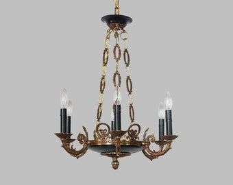 FREE SHIP-Vintage Bronze Empire Chandelier w/Brass Accents, Vintage Lighting, Antique Chandelier, Bedroom Lighting, Kitchen Chandelier