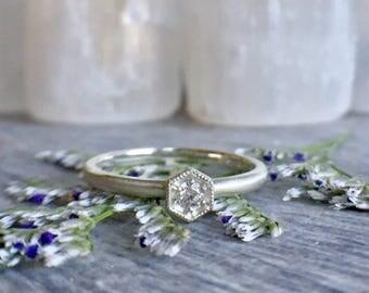 Dainty Hexagonal Solitaire Ring