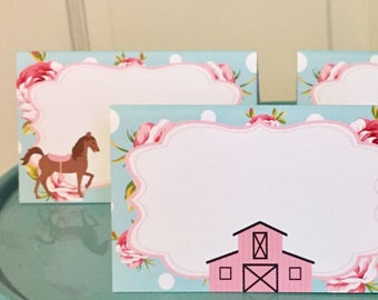 SHABBY CHIC HORSE Birthday Buffet Cards Table Tents Food Labels {Set of 8} - Pink Blue - Party Packs Available