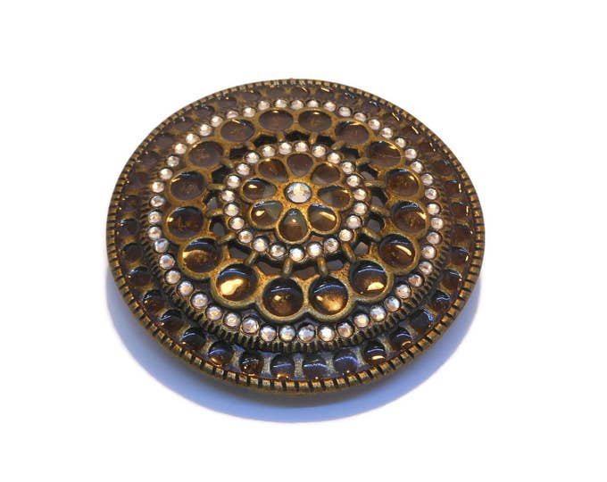 FREE SHIPPING Large round belt buckle, bronze ornate belt buckle, glass and rhinestone circles and teardrops, fancy western wear