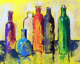 "Original painting Mexican tequila bottles Summer collection still life pastel colors acrylic on paper 19.5"" x 27.5"""