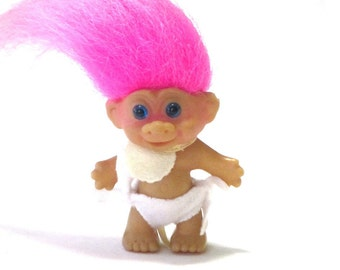 """Blue Eyed Baby Troll In Diaper and Bib Hot Pink Hair 2"""" Standing Doll"""