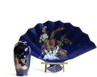 Asian Blue and Gold Phoenix Ceramic Fan Plate Matching Mini Vase Candy Dish Oriental Decor Side Table Snack Plate