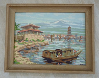 vintage paint-by-number Asian scene