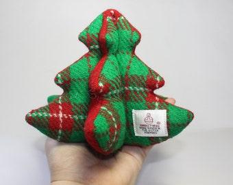 Small christmas tree - freestanding christmas tree - 3D christmas tree - HARRIS TWEED, red, green, white