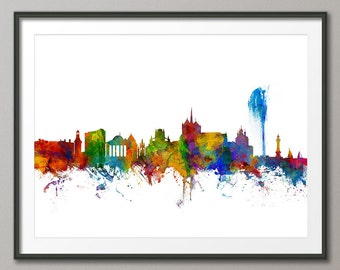 Geneva Skyline, Geneva Switzerland Cityscape Art Print (2676)