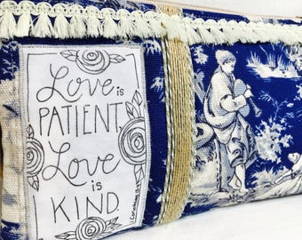 cosmetic bag  -love is patient - 1 corinthians 13 -bride- wedding- something blue -toile fabric scripture bag - make up bag - birthday gift