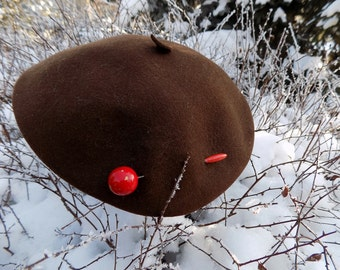 French beret - Vintage brown Beret from 1950's
