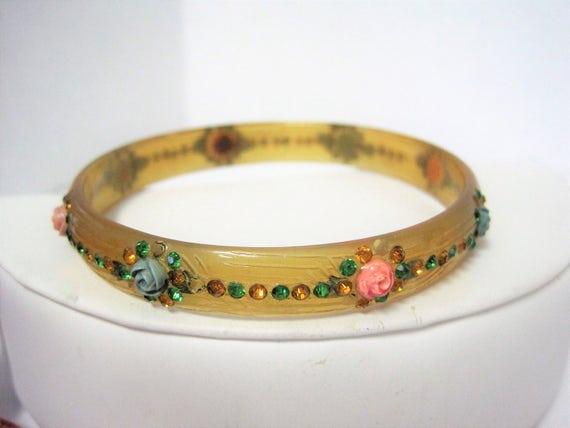 Art Deco Celluloid Bangle - Hand Painted Flowers - Rhinestone Enhanced - Mid Century Bracelet