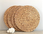 Vintage Woven Seagrass Placemats Chargers Set of Four 4 Casual Coastal Beach Tableware Decor
