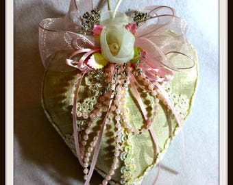 Shabby Pink Heart Sachet, Gift For Mom, Gifts Under 20, OOAK Mother's Day Gift, Handmade Home Decoration