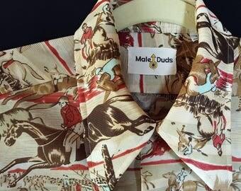 Male Duds Shirt, Horses, Novelty Print, Disco, Retro 70s Menswear