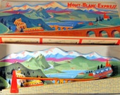 Superb Tin Wind-Up Mont-Blanc-Express Track Toy from France, 1950s unused boxed stock