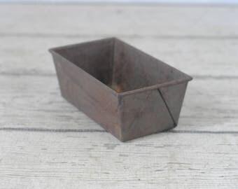 Vintage Small Metal Baking Loaf Pan Metal Baking Pan Decor Item