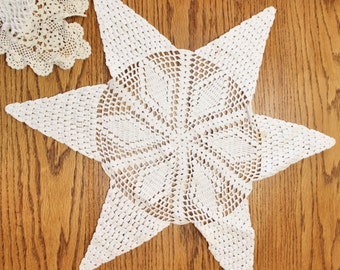 Lot Crocheted Doiles- ELEVEN total- Vintage/ Antique White/ecru- Six Pointed Star- Large Round Cloth, Different Sizes- For repurposing