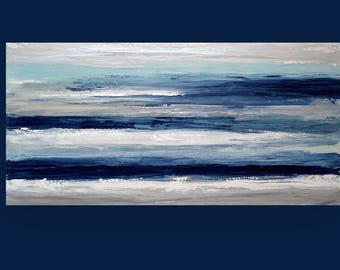 Large Painting, Abstract, Blue and Silver Original Abstract Acrylic Painting by Ora Birenbaum Titled: Cool Winds 24x48x1.5""