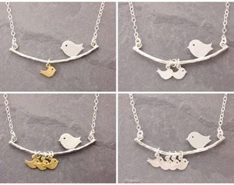 Single Mother Necklace, 1-6 kids, gifts for single mom, gifts for mom, initial, mother necklace, mom necklace, bird necklace, N1