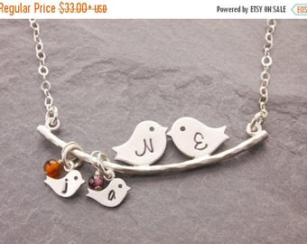 SALE: Family Necklace, 1-5 kids, mothers day, mothers necklace, mom bird necklace, new mom necklace, love birds, personalized jewelry, N1