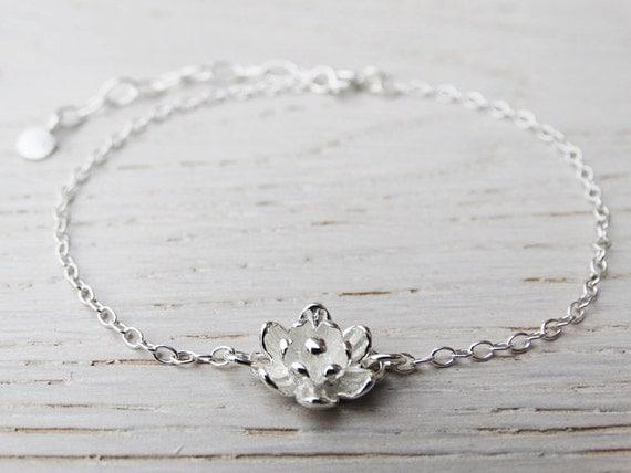 Silver Flower Bracelet - Sterling Silver