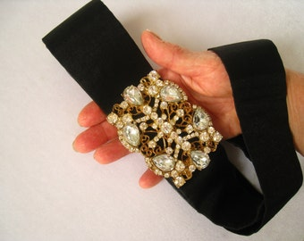 "Huge 3.5"" x 2.5"" Rhinestone & Brass Vintage Buckle on a Dressy Black (Adjustable Velcro Closure) Belt approx. 2"" W. x 30"" to 34"" Long."