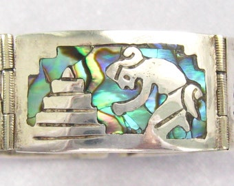 "CLEARANCE IGUALA  Bracelet has Colorful Abalone & Sterling Panel Designs. 1940's Vintage Mexican Silver.  7"" Long Clasped.  5/8"" Wide."